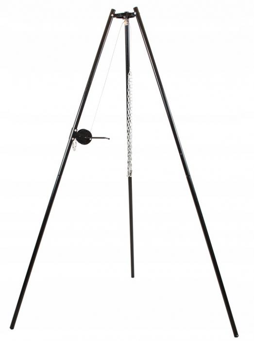 Grill ogrodowy 60fi nierdzewny podwieszany korbka trójnóg