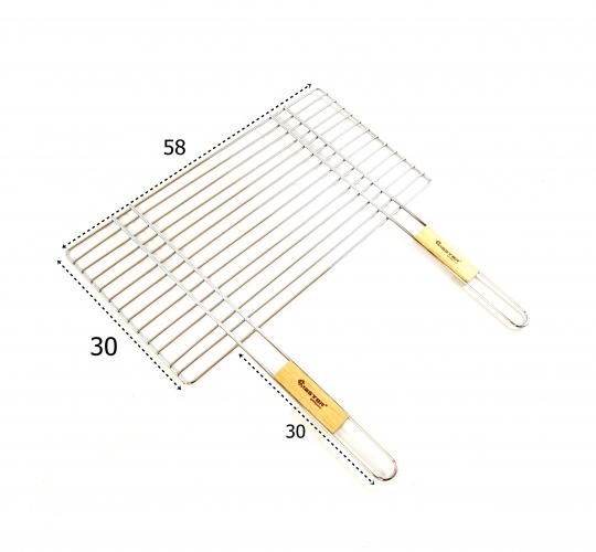 Ruszt chromowany do grilla siatka z rączkami 58x30