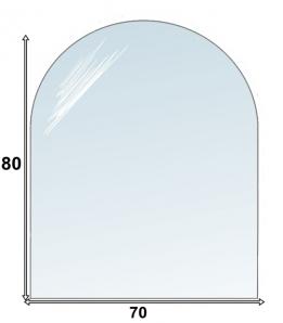 Szyba hartowana pod kominek - piec 80x70 półokrągła
