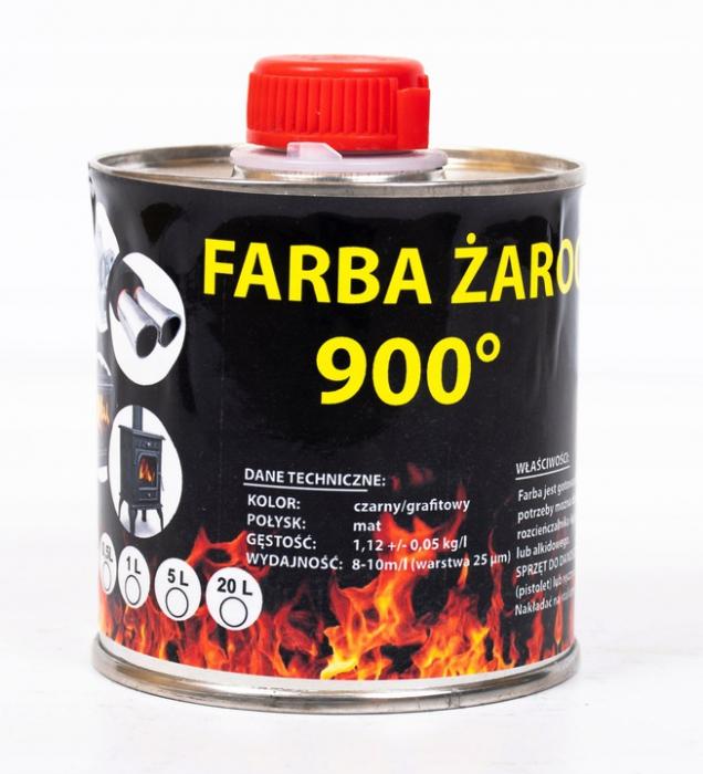 Farba 0,5L Kominkowa Lakier Żaroodporna Do Kominków Trwała 800c Grafit