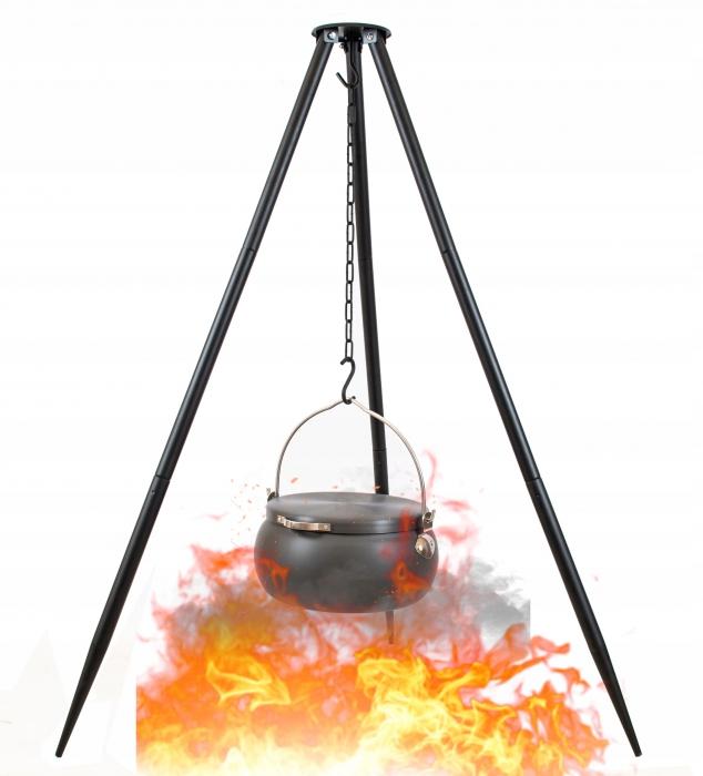 Grill ogrodowy podwieszany trójnóg garnek ALU BBQ