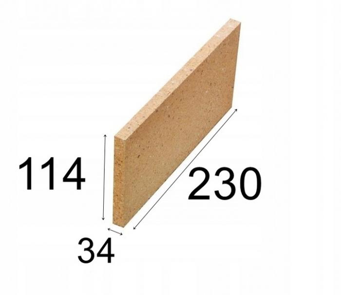 Cegła płyta szamotowa szamot do kominka żaroodporna 230x114x34