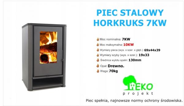 Piec piecyk kominek ECO STALOWY Koza HORKRUKS 7KW