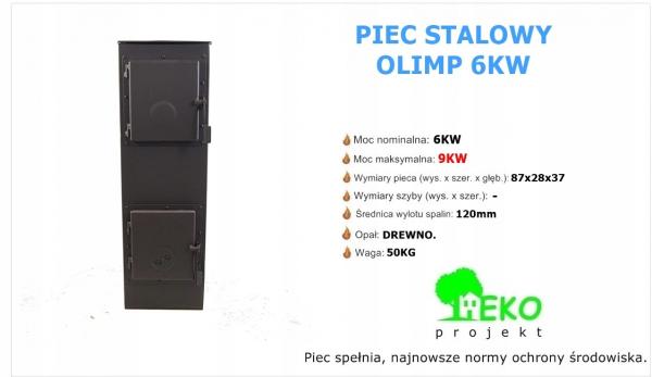 Piec piecyk kominek ECO stalowy koza OLIMP 6KW