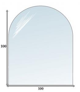 Podstawa szklana, szkło szyba pod piec, kominek- 100x100 półokrągła