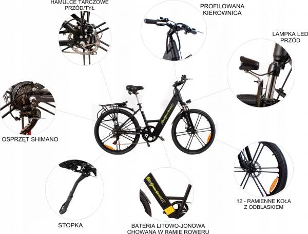 Górski rower elektryczny 26 MĘSKI DAMSKI UNISEX czarny